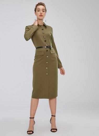 People By Fabrika Düğme Detaylı Elbise Haki